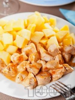Пилешки хапки със сметана на тиган - снимка на рецептата